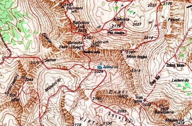 Map of Minin Bogaz (2387 m)...