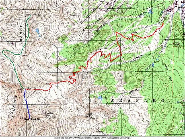 A TOPO of the main routes for...