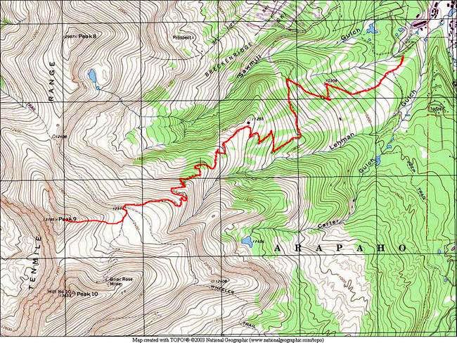 A TOPO of the East Ridge via...