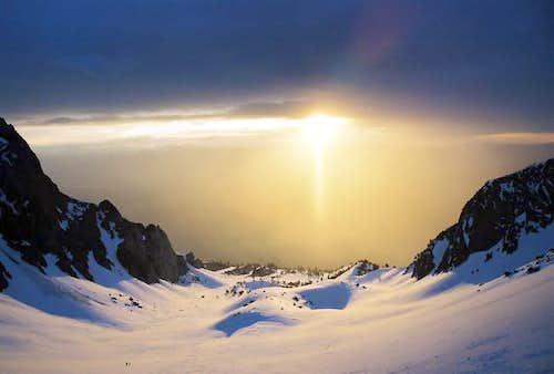 Sunrise over the glacier....