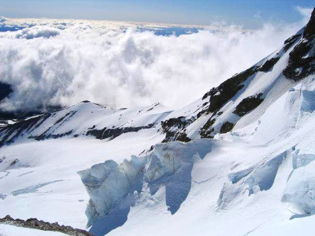 View of the Eliot Glacier...