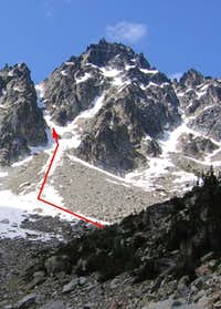 The couloir route chosen by...