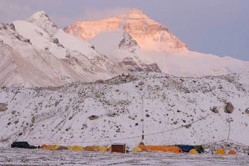 Alpenglow (Himalayaglow?) on...