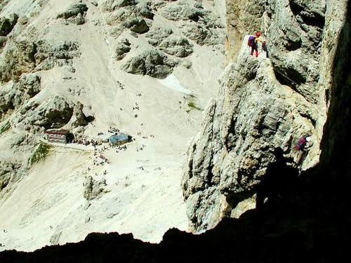 On narrow ledges just above...