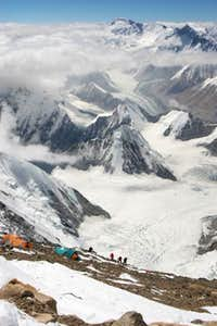 Climbers arriving at camp 3,...