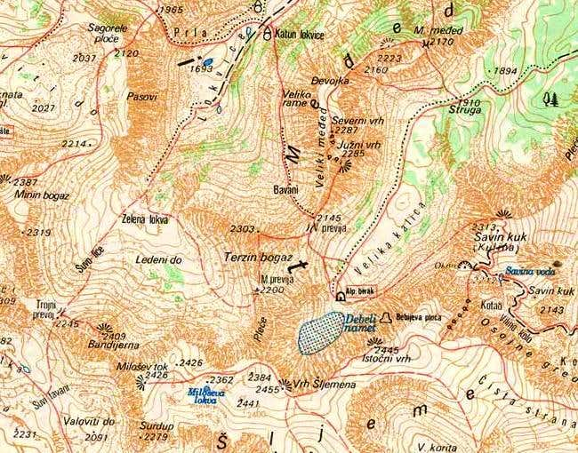 Map of Sljeme (2455 m) and...