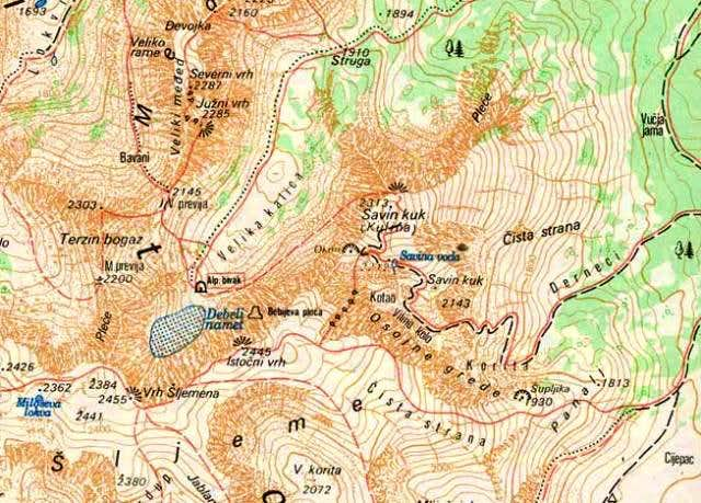 Map of Savin Kuk (2313 m)...