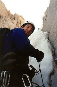 Alan on belay in the North...