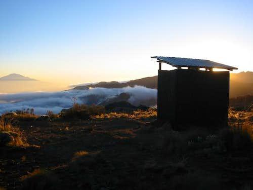 Outhouse at sunrise on Shira...