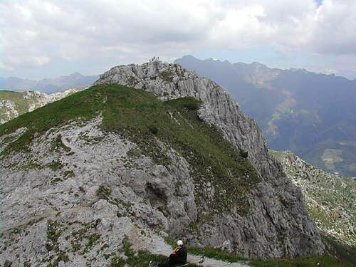 the summit ridge from the...