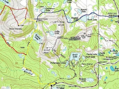Route map of Mount Marsell:
