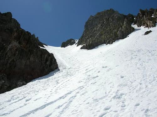 Looking up the Y couloir on...