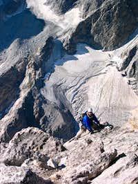 Climber on Exum Ridge with...
