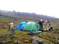 Setting up camp at the base...