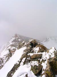 Hiker (dark figure in center)...