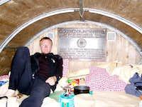 Pieter resting in the biwak....