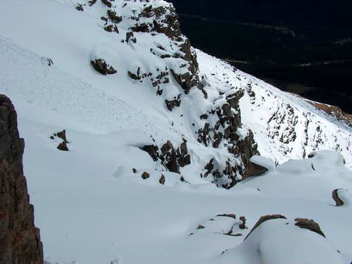 The precarious snow ledge...