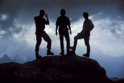 Mountaineers on Gosau glacier...