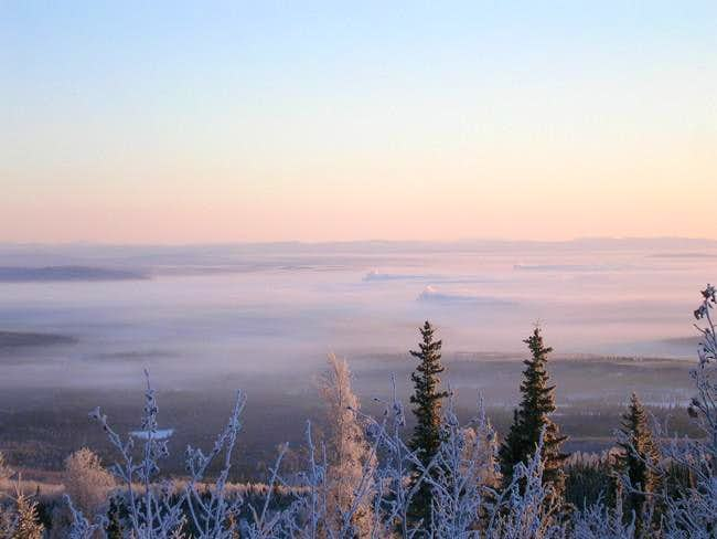 Ice fog in the valley below...