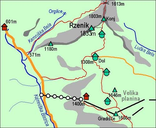 A self-made map of Rzenik and...