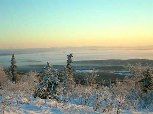 View from summit. Ice fog in...