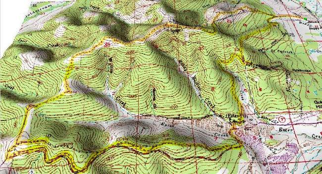 Relief map of Ester Dome