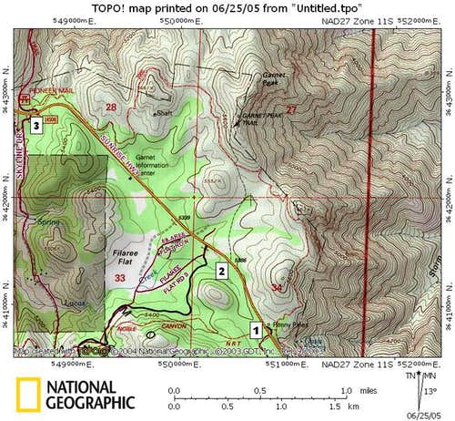 Garnet Peak Map. The three...