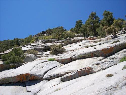 Granite slabs below the summit.