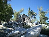 Stone cottage below summit....