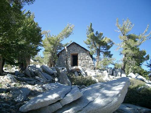 Stone cottage below summit....