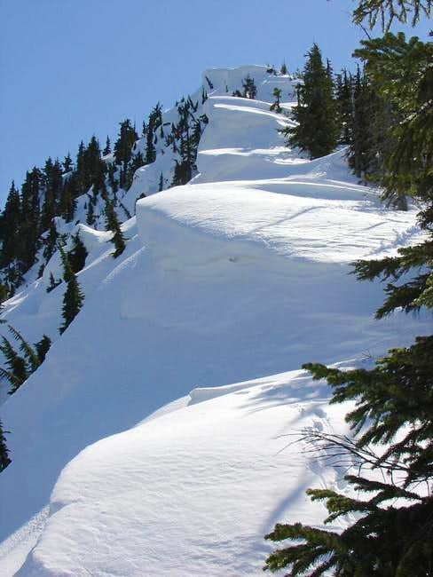 Looking up the N ridge of...