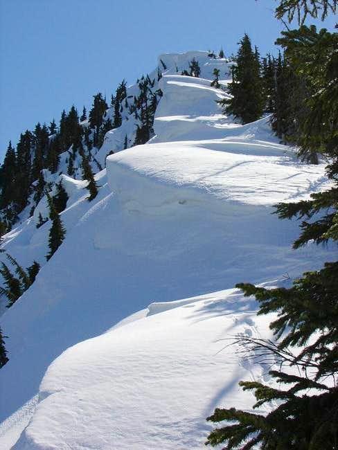Looking up the N ridge of...