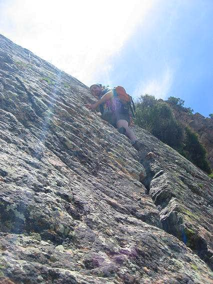 Climbing up the crack above...