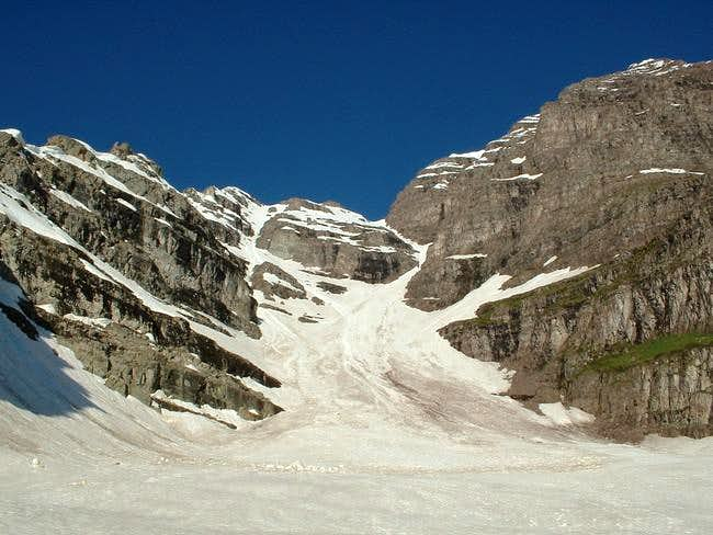 The Southeast col from the...