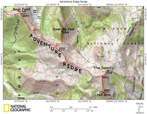 A map of Adventure Ridge