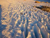 Snow surface on the trail...