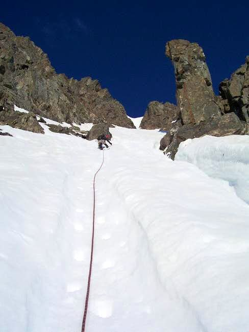 Heading up the North Couloir....
