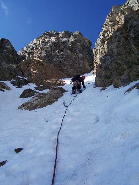 At the crux of the couloir....