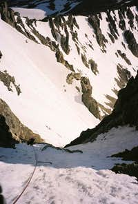 Looking down past the crux of...
