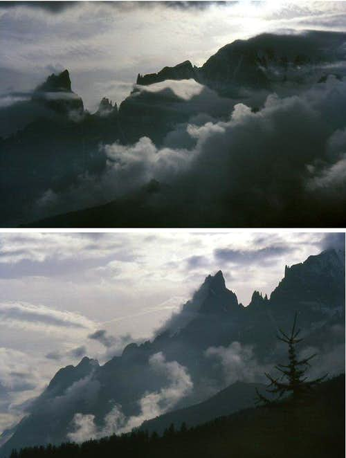A pair of views of the Peuterey ridge<br>  in a cloudy day from Neyron, Val Ferret