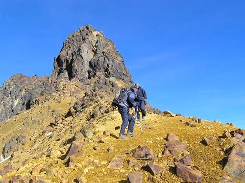 Reaching the summit ridge on...