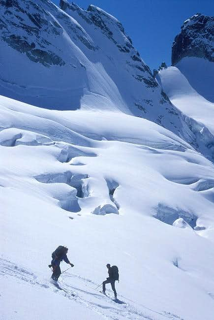 downhill on the Forno glacier...