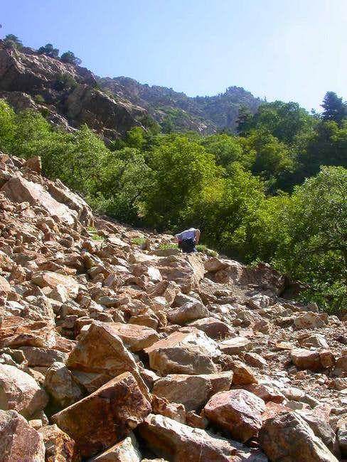 Crossing the rock slide at...