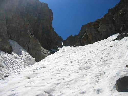 Looking up the Grunge Couloir .