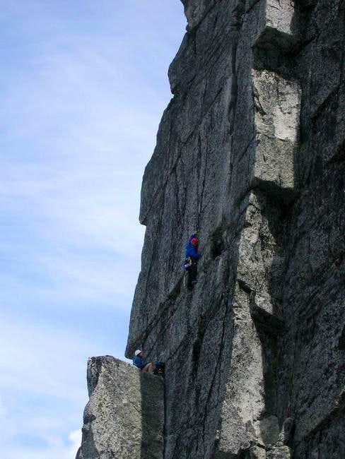 A close up shot of a climber...