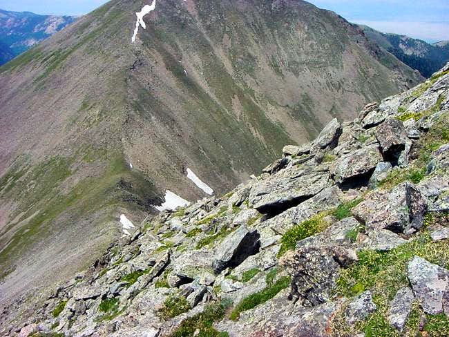 View down the north ridge to...
