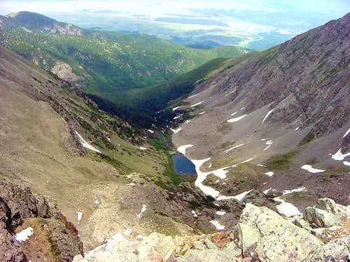 View down to Medano Lake from...