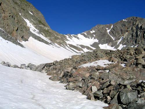 The snow and talus slopes...