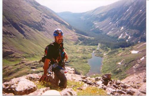 James, halfway up the arete....