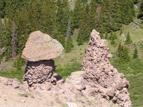 Conglomerate hoodoos, such as...